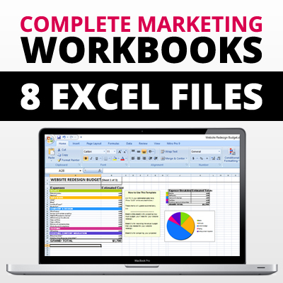 complete marketing budgeting workbooks 8 excel spreadsheets files