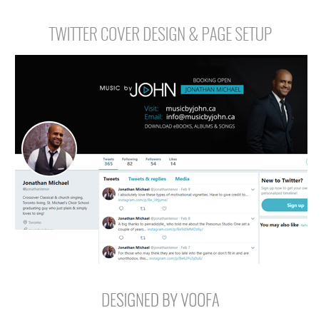 Musician Twitter Page Design